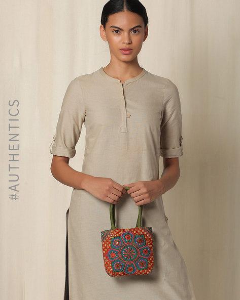 Kutch Pakko Hand Embroidery Handbag By Indie Picks ( Blue )