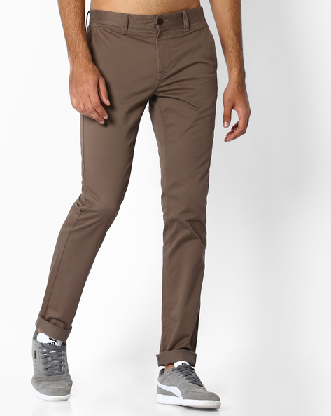 Flat-Front Slim Fit Trousers By INDIAN TERRAIN ( Assorted )