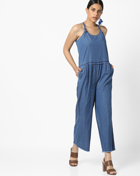 Strappy Denim Jumpsuit With Frayed Hems By AJIO ( Blue )