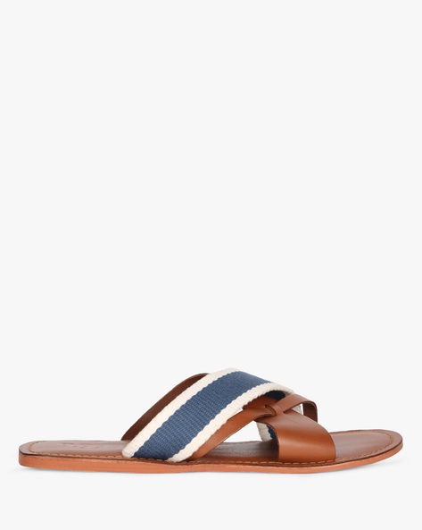 Flat Slippers With Criss-Cross Straps By Estd.1977 ( Tan )