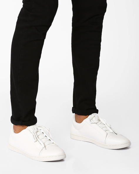 Lace-Up Sneakers With Padded Collar By AJIO ( White )