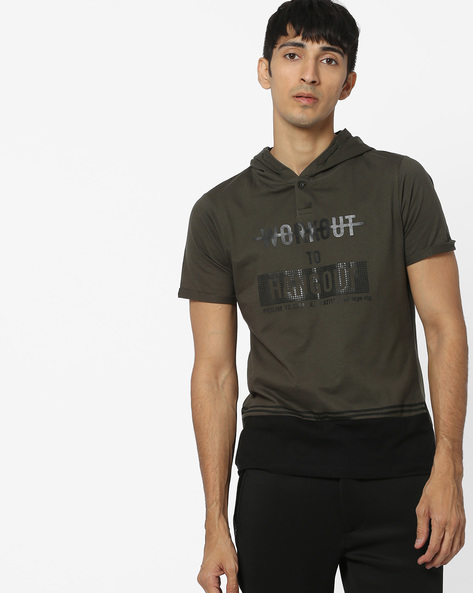 Embossed T-shirt With Hood By PROLINE ( Olive )
