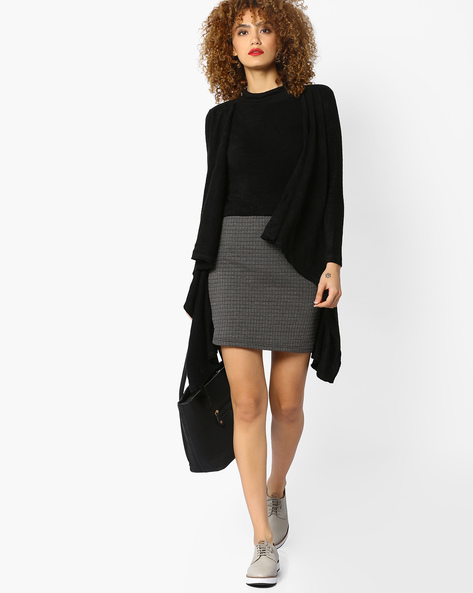 Shift Dress With Waterfall Jacket By And ( Black )