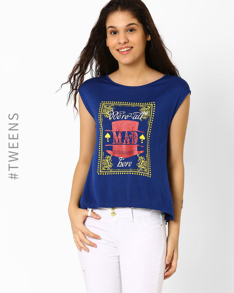 Graphic Print Top With Cap Sleeves By AJIO ( Navyblue )