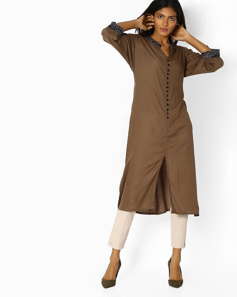 Straight Kurta With Front Slit By Shree ( Brown )
