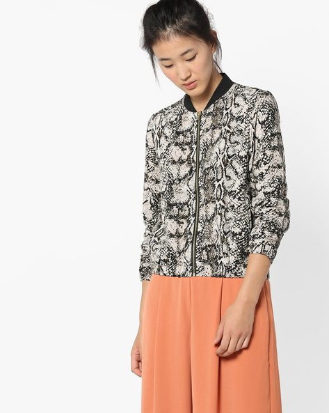 Printed Jacket With Insert Pockets By Only ( Grey )