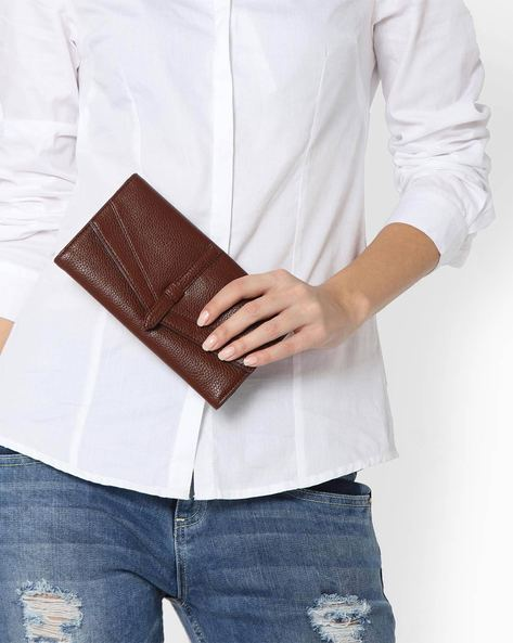 Textured Tri-fold Wallet By Lino Perros ( Brown )