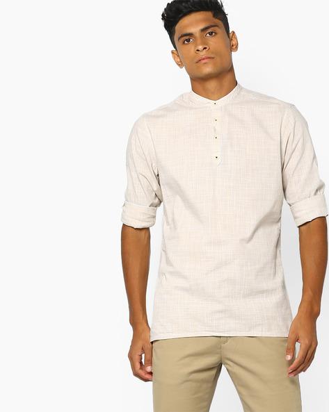 Micro Checked Shirt Kurta By NETPLAY ( Khaki )