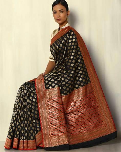 South Silk Thousand Buta Saree With Zari Border By Pretty Woman ( Black )