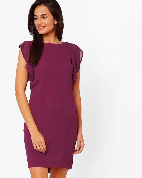 Sheath Dress With Ruffled Sleeves By The Vanca ( Burgundy )