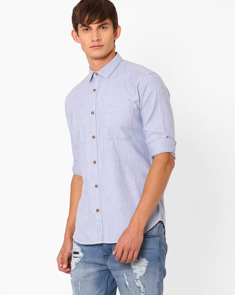 Slim Fit Casual Shirt By Nature Casuals ( Blue )