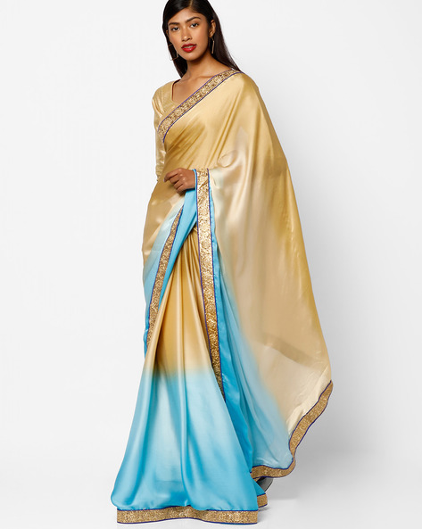 Half & Half Saree With Embroidered Border By Florence ( Blue )