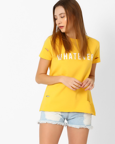 Printed T-shirt With Cutouts By Evah London ( Yellow )