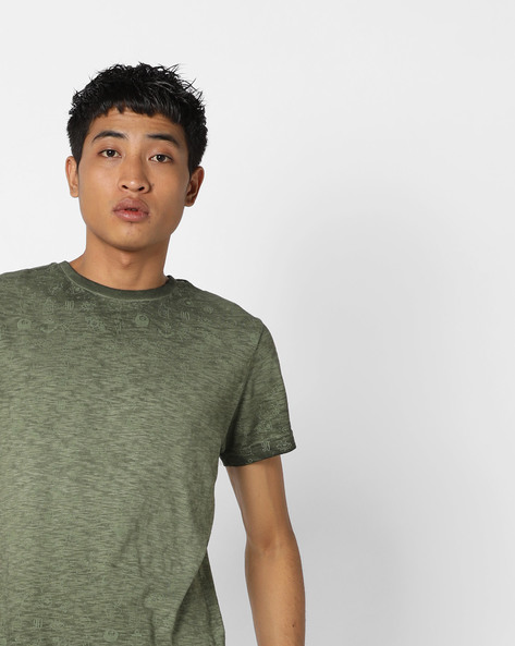 Heathered T-shirt With All-Over Print By Jack & Jones ( Green )