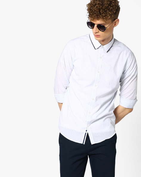 Checked Shirt With Contrast Collar Piping By UNITED COLORS OF BENETTON ( White )