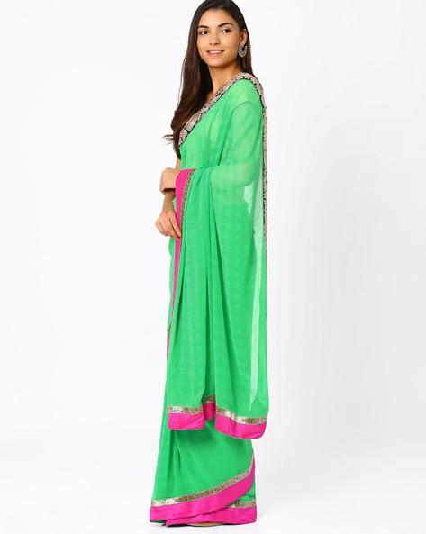 Georgette Saree By Vishal Prints ( Green )