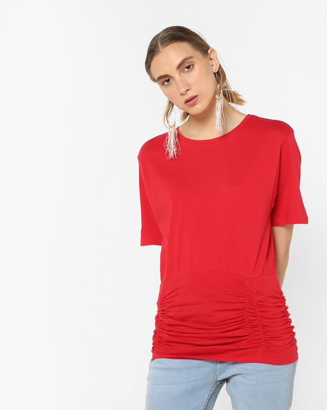 Crew-Neck T-shirt With Ruching By AJIO ( Red )