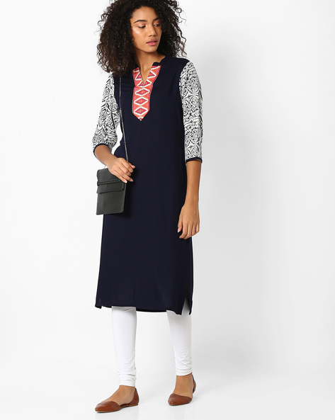 Straight Kurta With Printed Sleeves By AVAASA MIX N' MATCH ( Navy )