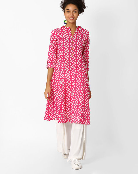 Printed Kurta With Mandarin Collar By AJIO ( Fuchsia )