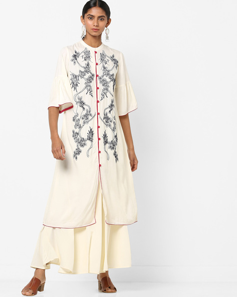 Button-Down A-line Kurta With Floral Embroidery By AJIO ( Offwhite )