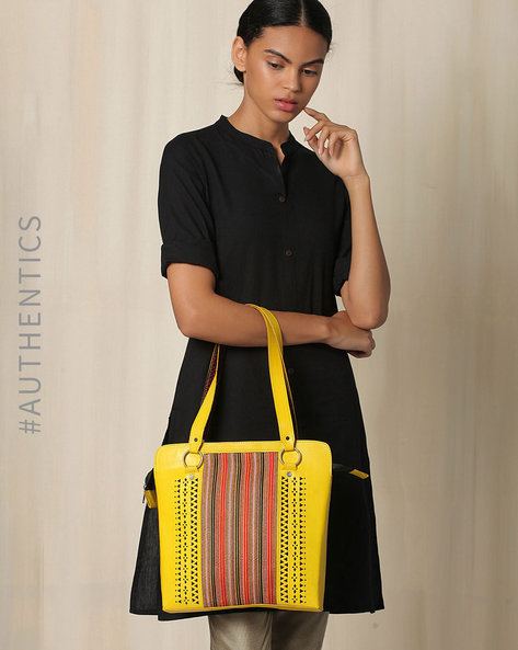 Kutch Cutwork Mashru Leather Handbag By Indie Picks ( Yellow )