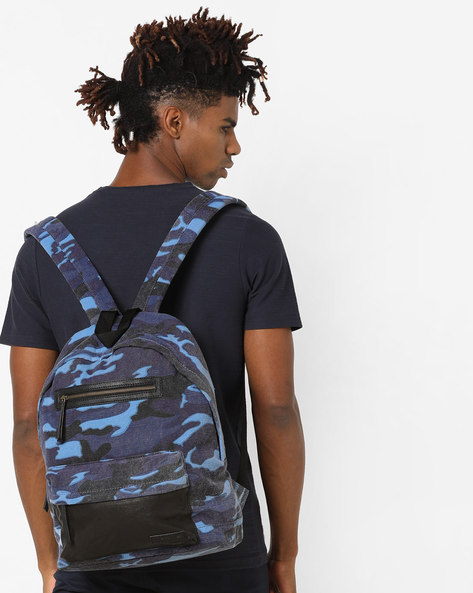 Camouflage Print Backpack By JUSTANNED ( Blue )