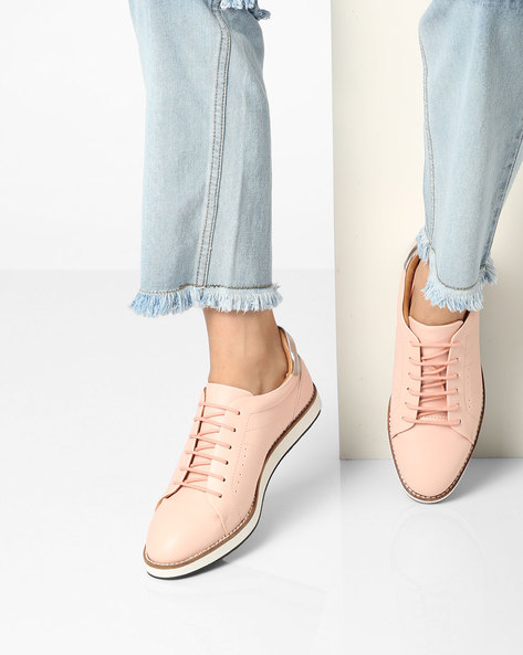 Casual Shoes With Lace-Ups By AJIO ( Nude )