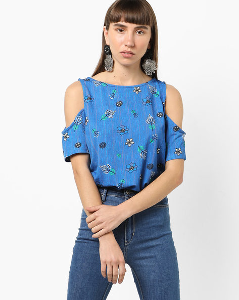 Printed Top With Cold Shoulder By Global Desi ( Blue )