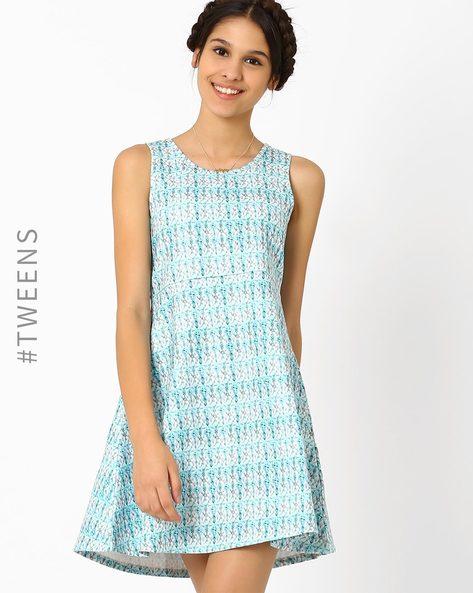Jewel Print Flared Dress By AJIO ( Blue )