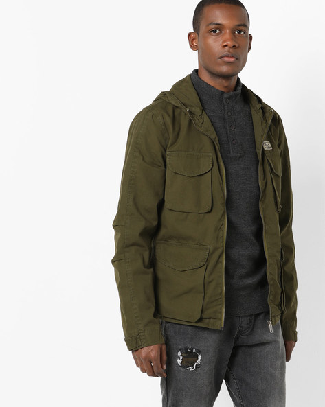 Zip-Front Jacket With Multiple Pockets By AJIO ( Olive )