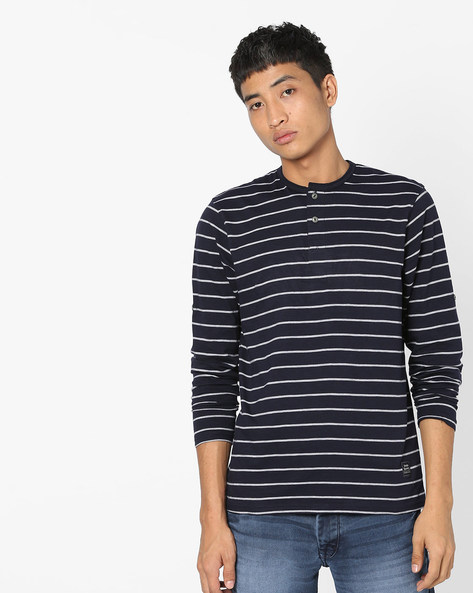 Striped Full-Sleeve Henley T-shirt By DNMX ( Navy )