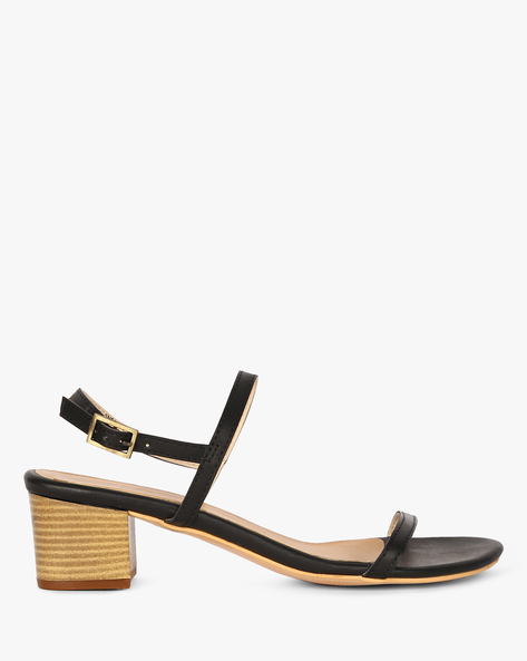 Strappy Block Heels With Buckle Closure By AJIO ( Black )