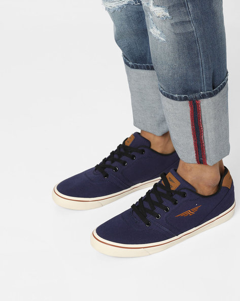 Low-Top Lace-Up Canvas Shoes By RED TAPE ( Blue )