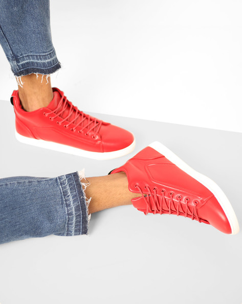 Mid-Top Sneakers With Lace-Up By AJIO ( Red )
