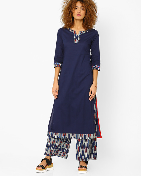 Straight Kurta With Contrast Detail By AJIO ( Navyblue )
