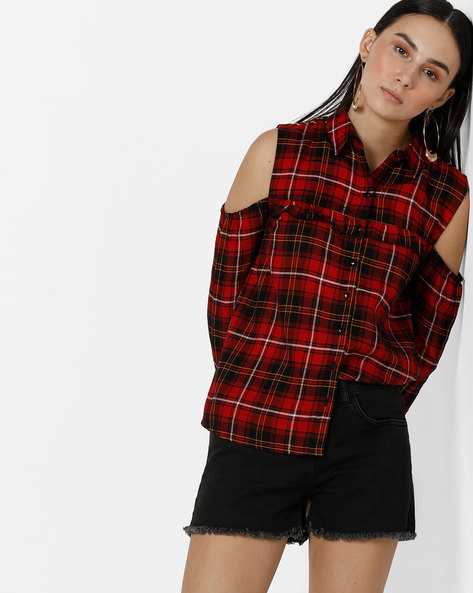 Checked Cold-Shoulder Shirt Top By Only ( Maroon )