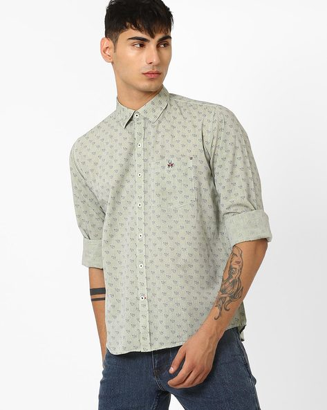 Printed Slim Shirt By CRIMSOUNE CLUB ( Green )