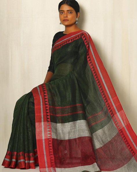 Handwoven Linen Saree With Cotton Contrast Border By Indie Picks ( Darkgreen )