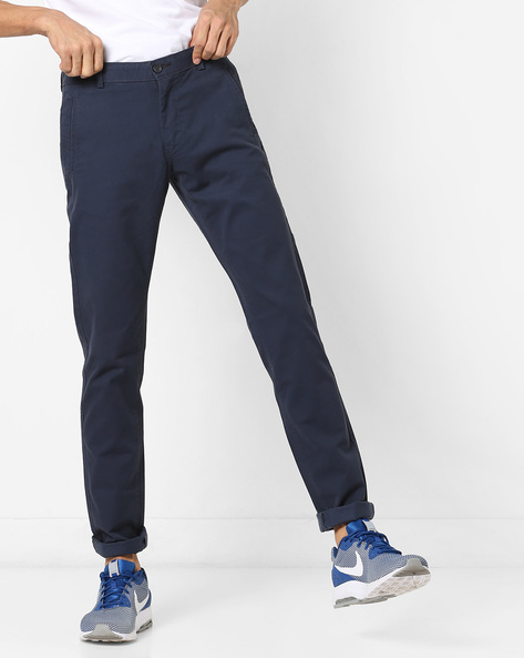 Slim Fit Flat-Front Trousers By BASICS ( Navy )