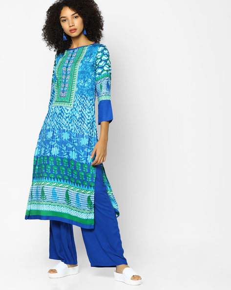 Printed Straight Kurta By Indian Ink ( Blue )