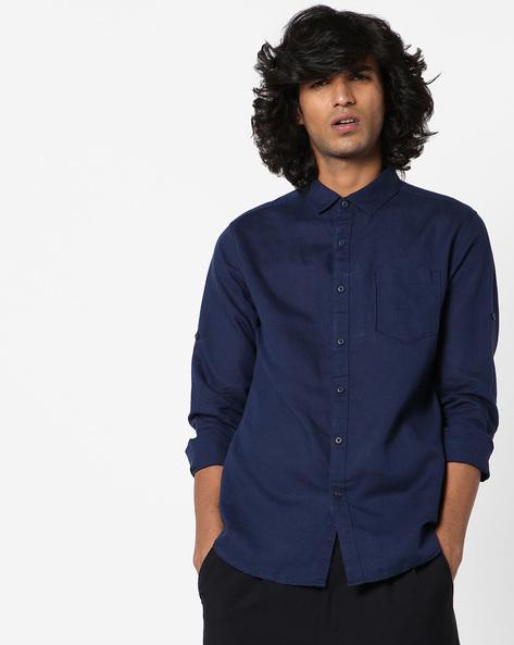 Slim Fit Shirt With Patch Pocket By Locomotive ( Darkblue )