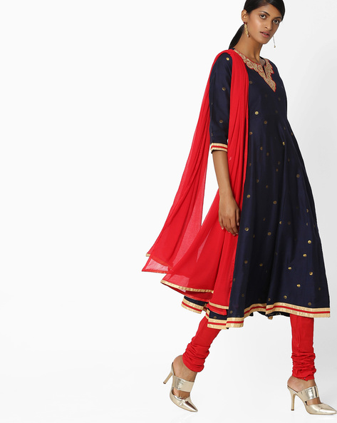Anarkali Churidar Kurta With Dupatta By AVAASA SET ( Navy )