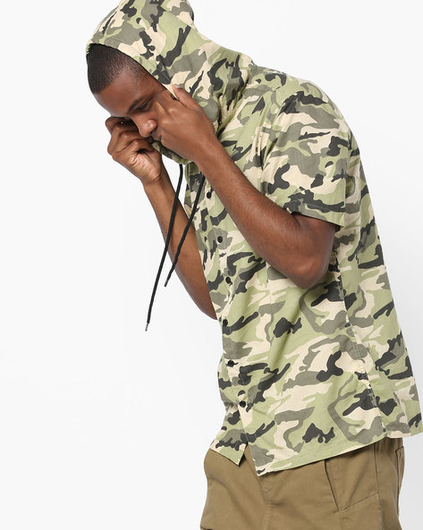 Camouflage Print Hooded Shirt By ADAMO LONDON ( Multi )