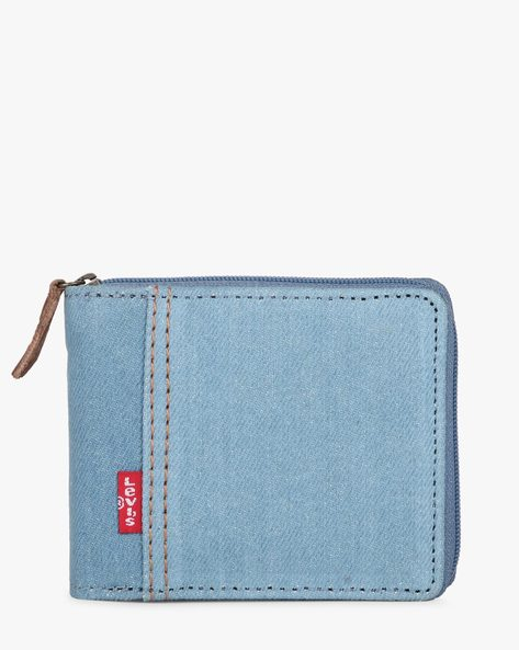 Bi-Fold Wallet With Zip Closure By LEVIS ( Lightblue )