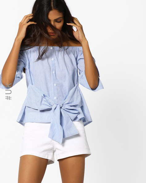 Striped Off-Shoulder Top With Tie-Up By INFLUENCE ( Blue )