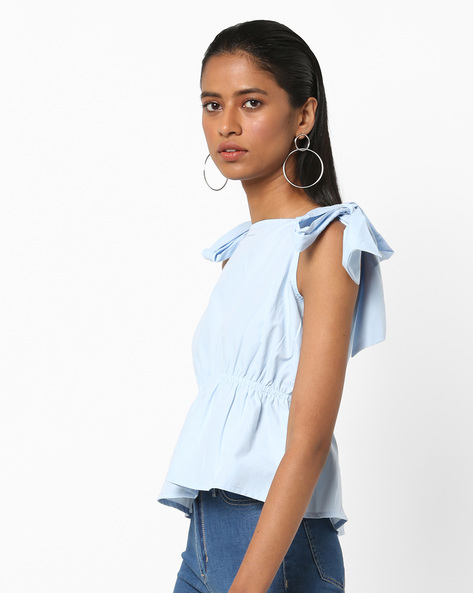 Peplum Top With Tie-Ups By AJIO ( Blue )