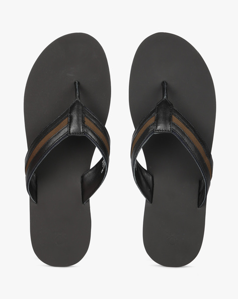 Genuine Leather Flip-Flops By UNITED COLORS OF BENETTON ( Black )