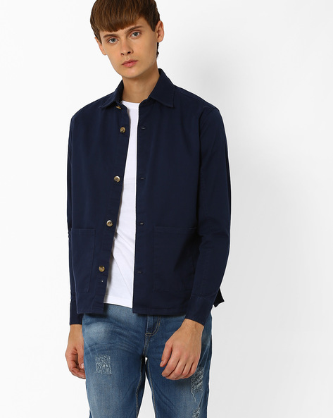 Cotton Twill Slim Fit Shacket By ADAMO LONDON ( Navyblue )