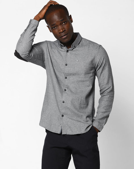 Slim Fit Shirt With Elbow Patches By VOI JEANS ( Black )