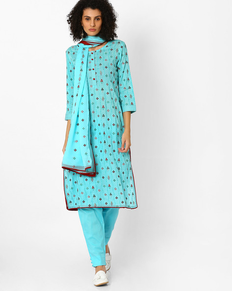 Floral Embroidered Kurta With Pant & Dupatta By Uptowngaleria ( Blue )